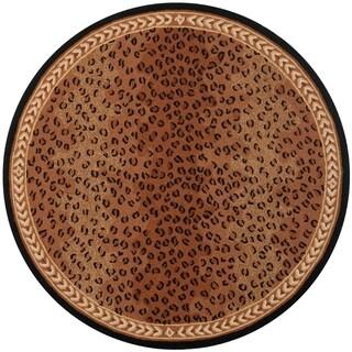 "Safavieh Hand-hooked Chelsea Leopard Brown Wool Rug - 5'6"" x 5'6"" round"