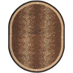Safavieh Hand-hooked Chelsea Leopard Brown Wool Rug (7'6 x 9'6 Oval)