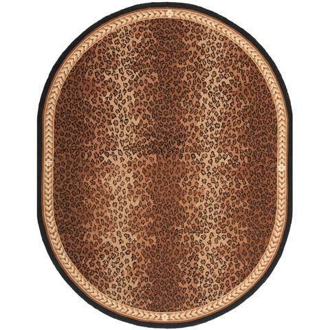 "Safavieh Hand-hooked Chelsea Leopard Brown Wool Rug - 7'6"" x 9'6"" Oval"