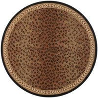 Safavieh Hand-hooked Chelsea Leopard Brown Wool Rug (8' Round) - 8' x 8'
