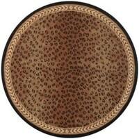 Safavieh Hand Hooked Chelsea Leopard Brown Wool Rug 8 X Round