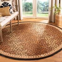Safavieh Hand-hooked Chelsea Leopard Brown Wool Rug - 8' x 8' Round
