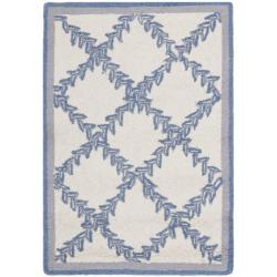 Safavieh Hand-hooked Trellis Ivory/ Light Blue Wool Rug (1'8 x 2'6)