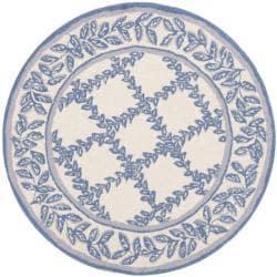 Safavieh Hand-hooked Trellis Ivory/ Light Blue Wool Rug (3' Round)