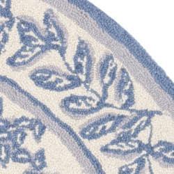 Safavieh Hand-hooked Trellis Ivory/ Light Blue Wool Rug (4' Round)