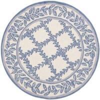 Safavieh Hand-hooked Trellis Ivory/ Light Blue Wool Rug (4' Round) - 4' x 4'