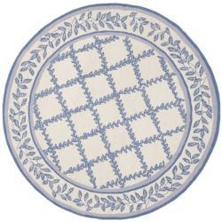 Safavieh Hand-hooked Trellis Ivory/ Light Blue Wool Rug (5'6 Round)