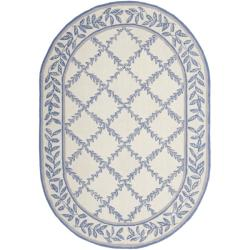 Safavieh Hand-hooked Trellis Ivory/ Light Blue Wool Rug (7'6 x 9'6 Oval)