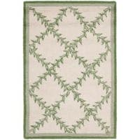 Safavieh Hand-hooked Trellis Ivory/ Light Green Wool Rug - 1'8 x 2'6