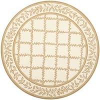 Safavieh Hand-hooked Trellis Ivory/ Beige Wool Rug - 4' x 4' Round