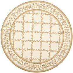 Safavieh Hand-hooked Trellis Ivory/ Beige Wool Rug (5'6 Round) - 5'6 - Thumbnail 0