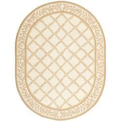 Safavieh Hand-hooked Trellis Ivory/ Beige Wool Rug (7'6 x 9'6 Oval)