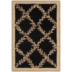 Safavieh Hand-hooked Trellis Black/ Beige Wool Rug (1'8 x 2'6)