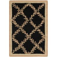 Safavieh Hand-hooked Trellis Black/ Beige Wool Rug (1'8 x 2'6) - 1'8 x 2'6