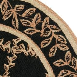 Safavieh Hand-hooked Trellis Black/ Beige Wool Rug (3' Round)