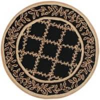 Safavieh Hand-hooked Trellis Black/ Beige Wool Rug - 3' x 3' round