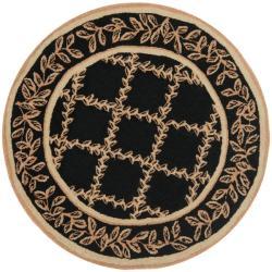 Safavieh Hand-hooked Trellis Black/ Beige Wool Rug - 3'