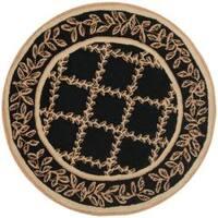 Safavieh Hand-hooked Trellis Black/ Beige Wool Rug (4' Round) - 4' x 4'