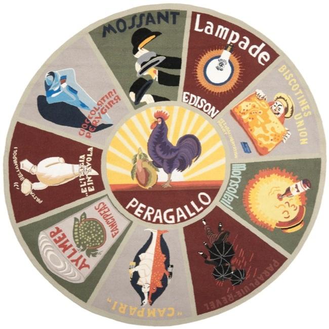 Safavieh Hand-hooked Vintage Poster Sage Wool Rug (8' Round)