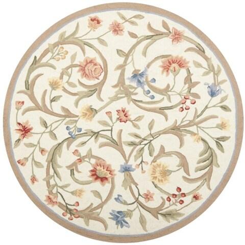 Safavieh Hand-hooked Garden Scrolls Ivory Wool Rug - 4' x 4' Round