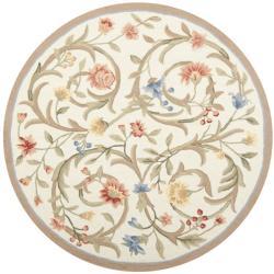 Safavieh Hand-hooked Garden Scrolls Ivory Wool Rug (4' Round)