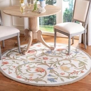 Safavieh Hand-hooked Garden Scrolls Ivory Wool Rug (5'6 Round) - 5'6