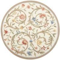 Safavieh Hand-hooked Garden Scrolls Ivory Wool Rug - 8' x 8' Round