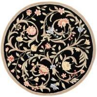"""Safavieh Hand-hooked Garden Scrolls Black Wool Rug - 5'6"""" x 5'6"""" round"""