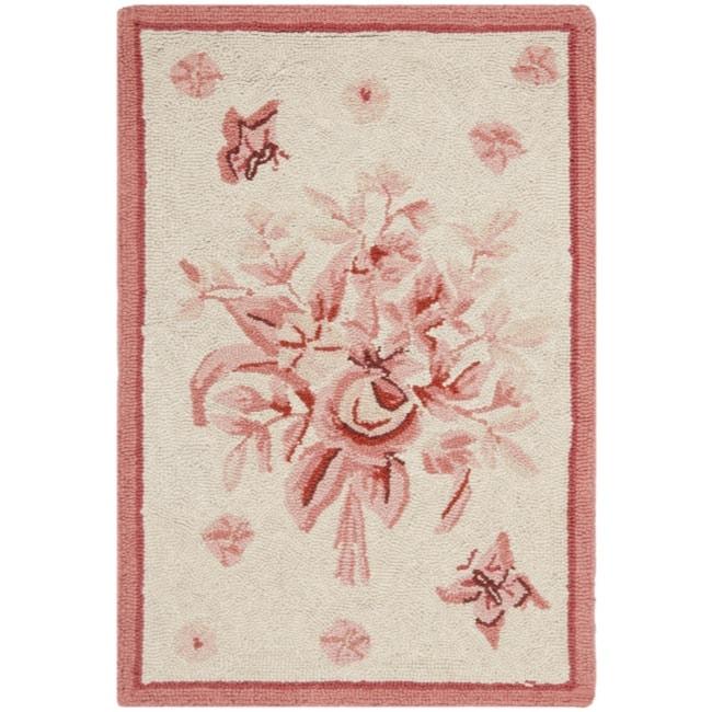 Safavieh Hand-hooked Garden Ivory/ Rose Wool Rug (1'8 x 2'6)