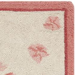 Safavieh Hand-hooked Garden Ivory/ Rose Wool Rug (1'8 x 2'6) - Thumbnail 1