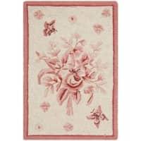 Safavieh Hand-hooked Garden Ivory/ Rose Wool Rug - 1'8 x 2'6