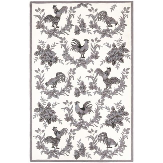 Safavieh Hand-hooked Hens Grey Wool Rug (8'9 x 11'9) - 8'9 X 11'9