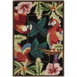Safavieh Hand-hooked Parrots Black Wool Rug (1'8 x 2'6)