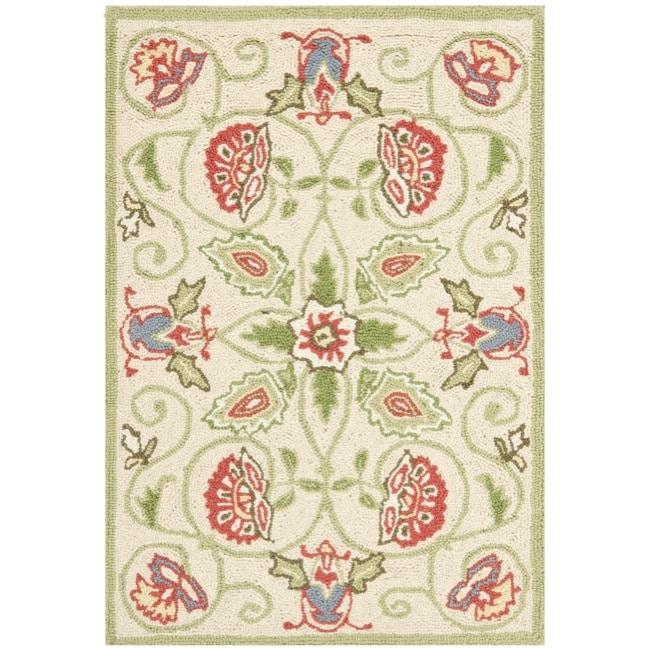 Safavieh Hand-hooked Bedford Beige/ Green Wool Rug - 1'8 x 2'6