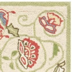 Safavieh Hand-hooked Bedford Beige/ Green Wool Rug (1'8 x 2'6) - Thumbnail 1