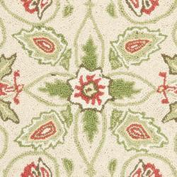 Safavieh Hand-hooked Bedford Beige/ Green Wool Rug (1'8 x 2'6) - Thumbnail 2