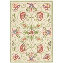 Safavieh Hand-hooked Bedford Beige/ Green Wool Rug (1'8 x 2'6)