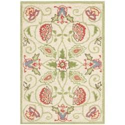 Safavieh Hand-hooked Bedford Beige/ Green Wool Rug - 1'8 x 2'6 - Thumbnail 0