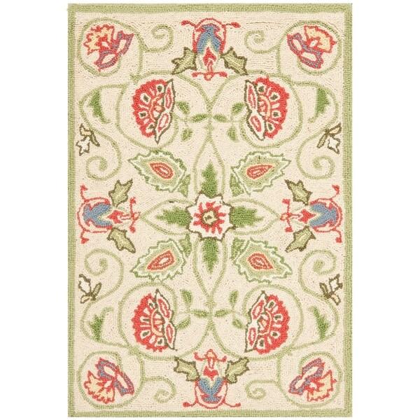 """Safavieh Hand-hooked Bedford Beige/ Green Wool Rug - 1'-8"""" x 2'-6"""""""