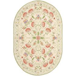 Safavieh Hand-hooked Bedford Beige/ Green Wool Rug (4'6 x 6'6 Oval)