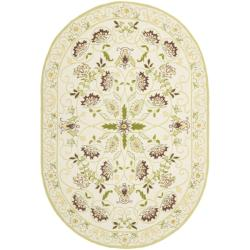 Safavieh Hand-hooked Bedford Ivory/ Green Wool Rug (7'6 x 9'6 Oval)