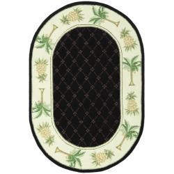 Safavieh Hand-hooked Pineapples Black Wool Rug (4'6 x 6'6 Oval)