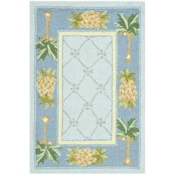 Safavieh Hand-hooked Pineapples Light Blue Wool Rug (1'8 x 2'6)