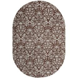 Safavieh Hand-hooked Chelsea Damask Brown Wool Rug (4'6 x 6'6 Oval)