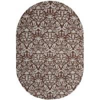 Safavieh Hand-hooked Chelsea Damask Brown Wool Rug - 4'6 x 6'6