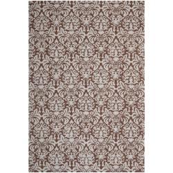 Safavieh Hand-hooked Chelsea Damask Brown Wool Rug - 7'6 x 9'9 - Thumbnail 0