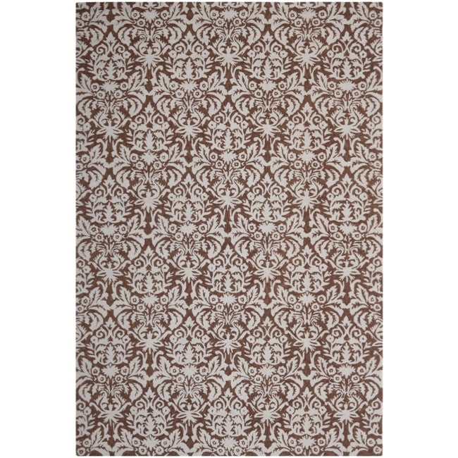 Safavieh Hand-hooked Chelsea Damask Brown Wool Rug - 8'9 X 11'9