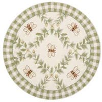 Safavieh Hand-hooked Bumblebee Ivory Wool Rug - 3' x 3' round