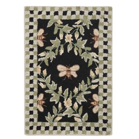 "Safavieh Hand-hooked Bumblebee Black Wool Rug - 1'8"" x 2'6"""