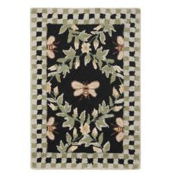 Safavieh Hand-hooked Bumblebee Black Wool Rug (1'8 x 2'6)